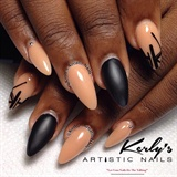 Black and Nude Mix Media Nail Art