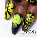 She's So Chic - Black and Yellow Nails
