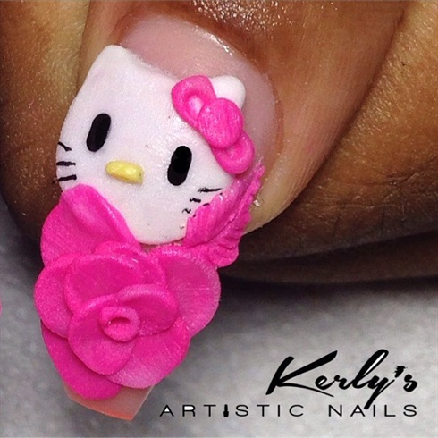 Hello Kitty Floral Nail