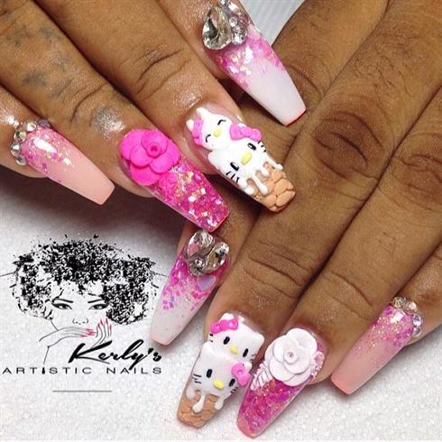 Hello Kitty Ice Cream Nails