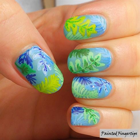Leaf print nails