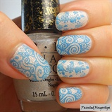Ice blue and white nails