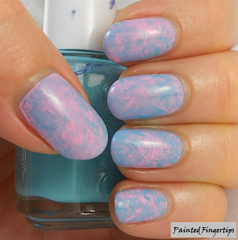 Mottled pink and turquoise nails