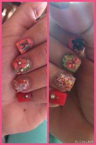 Orange Nails Flowers Stars