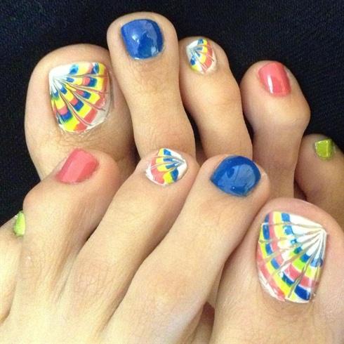Rainbow Marble Toe nail art