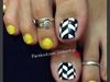 Neon Chevron Toe nail art