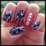 Ikat pattern nails with studs