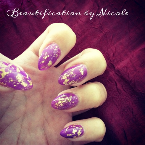 Almond Nails With Gold Flakes