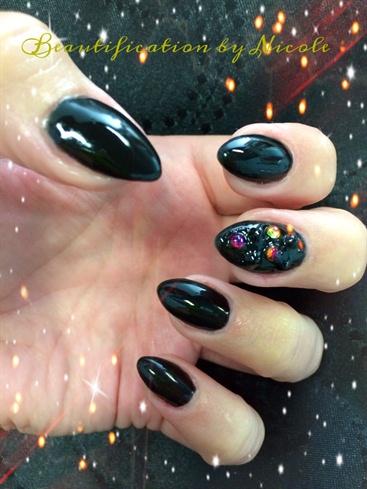 Black Almond Nails With Swarovski