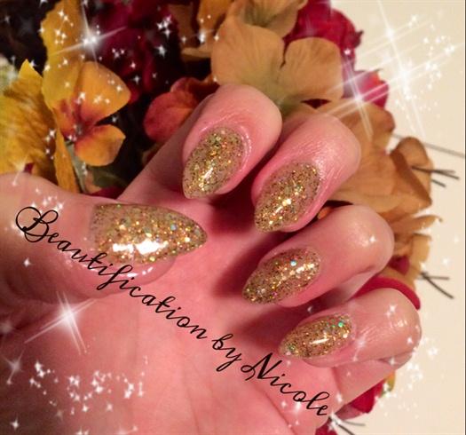 Gold Glitter Almond Nails