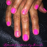 Neon Pink Gel Mani With Gold Foil