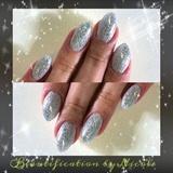 Silver Glitter Almond Nails