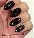 Black Glitter Almond Nails