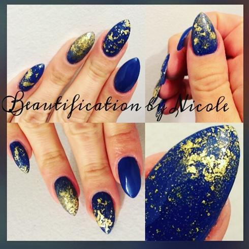 Gold Leaf Almond Nails