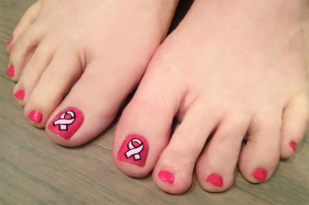 Pink ribbon pedi art