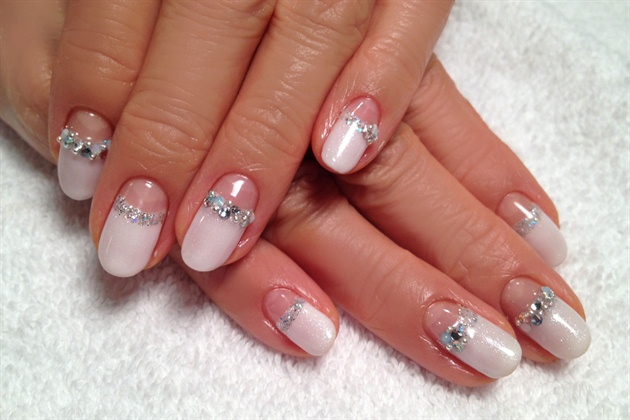 Winter White Reverse French Nail Art Gallery