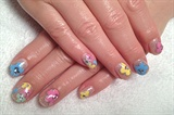 Hand painted colorful flower mani art