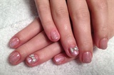 Pink gradation+silver glitter+bows