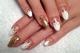 White and gold bling bling mani art