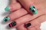 Black&Mint colors nail art left hand