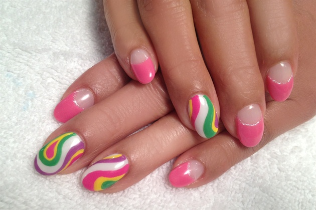 Hand painted Pucci nail art