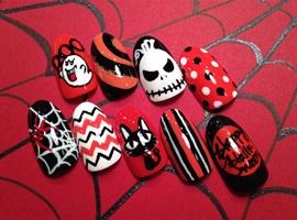 Hand-painted halloween nail art samples!