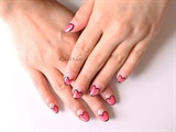 Comic-style Heart French Manicure