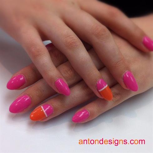 Pink orange nails nail art gallery pink amp orange nails prinsesfo Image collections