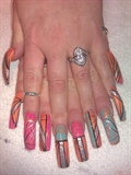 Orange pink and teai crackle