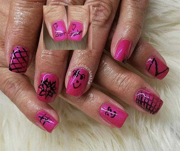 12 year old son doing grandma's nail art
