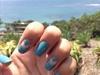Blue Negative Space Chevron Nails
