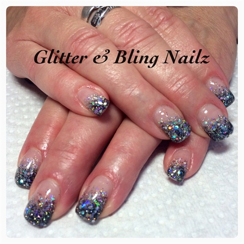 Black And Sliver Bling Glitter Fade