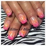 Neon Pink And Orange Glitter Fade