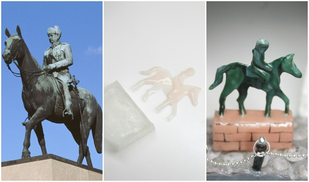 The statue of Mannerheim is really famous. I build it with hard gel and painted the details with gel polish. It was practical to make the statue two dimensional and layer gel to strategic places, like the arms and horses legs.\n