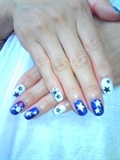 blue&white star nail