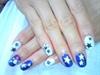 blue&white star nail