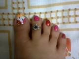 Floral toe nail art
