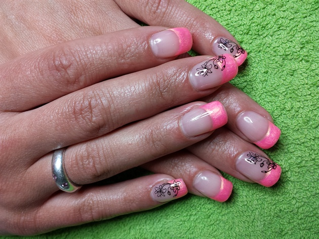 pink french with stamping