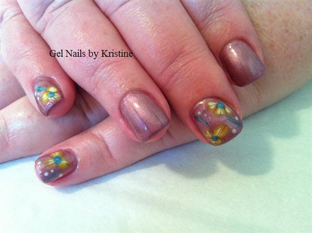 desert rose gel polish w/ gel flowers