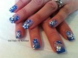 crystal&blue fade w/ handpainted flowers