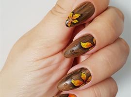 wood grain autumn nails with gel paints