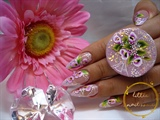 French gel nails with one stroke flowers