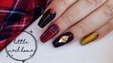 Tartan nails with Swarovski crystals