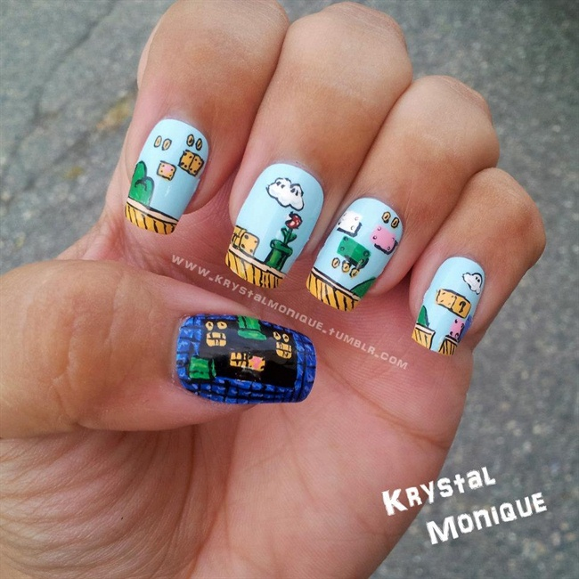 Super Mario Bros Scene Nails - Nail Art Gallery