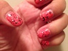 Splatter Over Salmon Color Nails