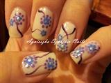 krótkie biało liliowe