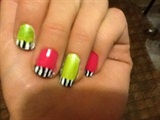 neon homecomming nails