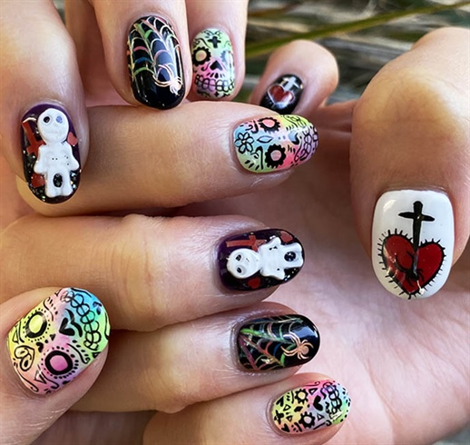 Day of the Dead sugar skulls nail art