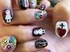 Day of the Dead sugar skulls nail art