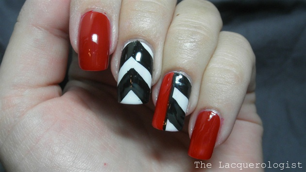 Red, Black and White Chevron Nails